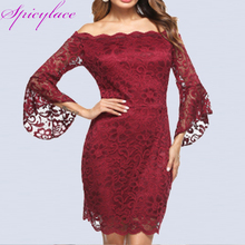 Spicylace Woman Red Bodycon Dress Elegant Slash Neck Sexy Off Shoulder Lace Dresses Sexy Flare Sleeve Bandage Party Vestidos plain slash neck flare sleeve bodycon dress