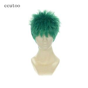 """Image 1 - חתיכה אחת Roronoa Zoro ccutoo 10 """"זכר ירוק קצר של פלאפי סינטטי קוספליי שיער פאות סיבים עמידות בחום"""