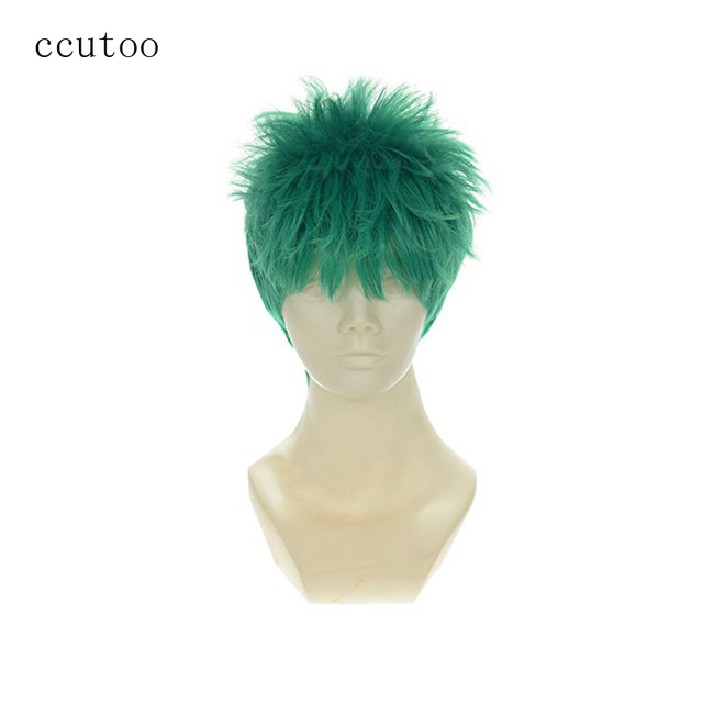 """ccutoo Roronoa Zoro ONE PIECE 10"""" Males Short Green Fluffy Synthetic Cosplay Hair Wigs Heat Resistance Fiber"""