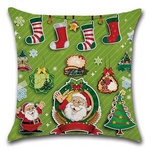 Image 2 - 2pcs Christmas Santa Deer Bulb Tree Socks Cushion Sofa Bedroom Decorative Pillow Cover Cushion Cover Home Sweet Pillow Case