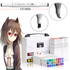 12/24/48/60colors Drawing Supplies Alcohol Double Used Sketch Marker Set Manga For School Drawing Chisel and Brush pen