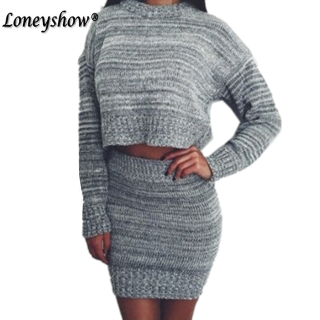 Tracksuit New 2 Piece Set Suit Skirts Winter Pullover Sweater