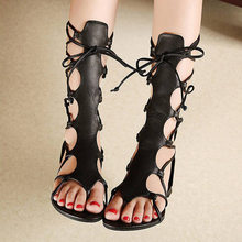 Hot Shoes Women Knee High Gladiator Sandals Hollow Out Size 35-40 PU Leather Summer Open Toe Black/Brown Flip Flops Flat Sandals