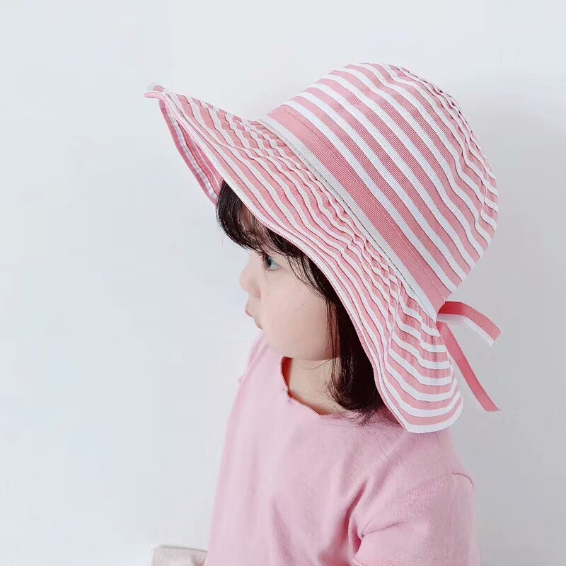 Spring Summer Baby Girls Sun Hat Stripe Bowknot Beach Bucket Hats Toddler Kid