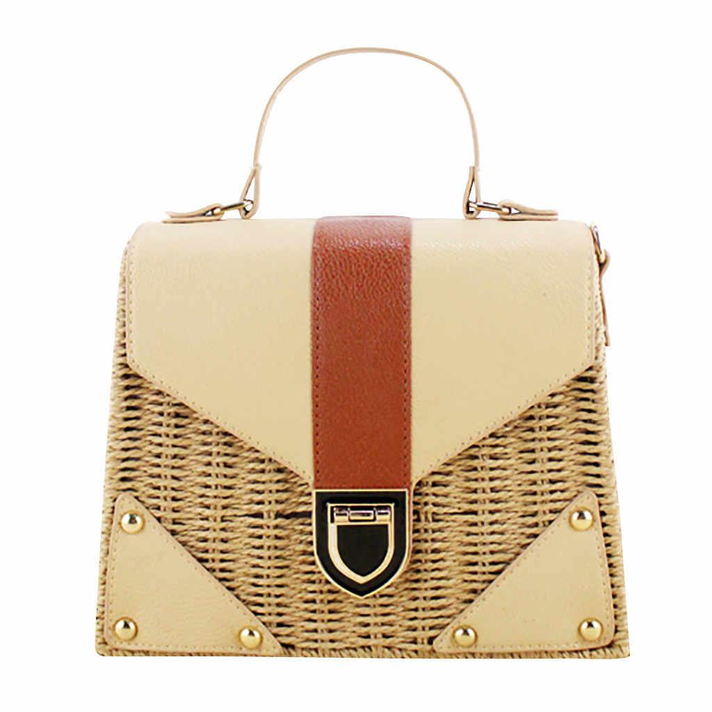 Coneed 2019 feminino boêmio palha praia tote bolsa artesanal interior vintage floral crossbody saco junho 25 p35