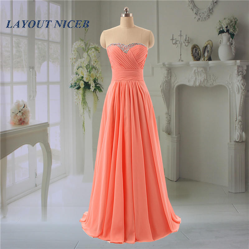 2017 ElegantL Chiffon   Bridesmaid     Dresses   Long   Dress   New Party Prom Gowns Rhinestone Sweetheart Neck Gown