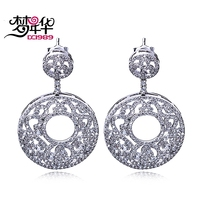 DreamCarnival 1989 Classic Round Disc Earrings For Women Drop Hollow Luxury Zirconia Paved Rhodium Color Dangle