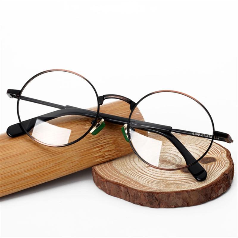 Retro Runde Qualität Myopie gold brown Bronze progressive Optische Schwarzes grau Brillen Designer Hohe Multifokale Gläser Metall weitsichtigkeit 4YnBBzX