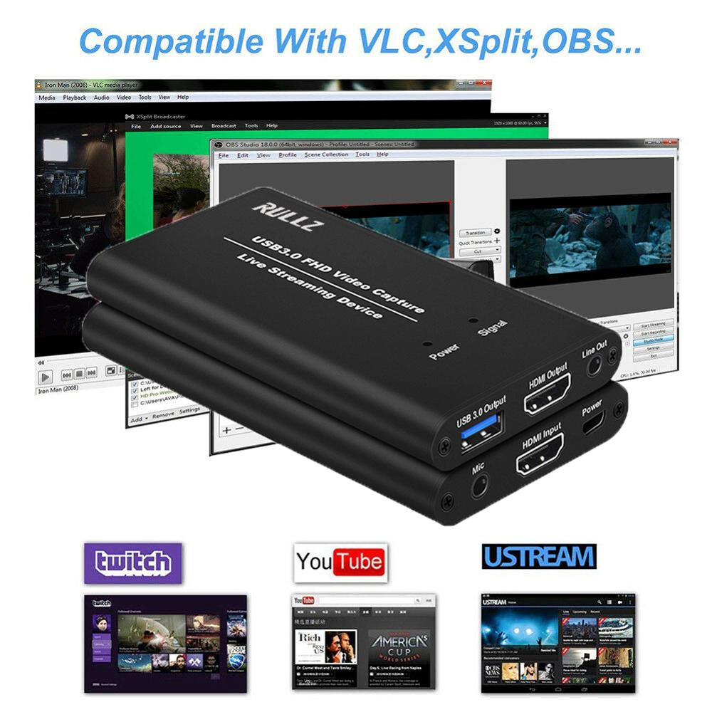 USB3.0 HDMI 4K 60Hz Video Capture Card HDMI to USB Video Recording Box Dongle Game Streaming Live Stream Broadcast w/ MIC input