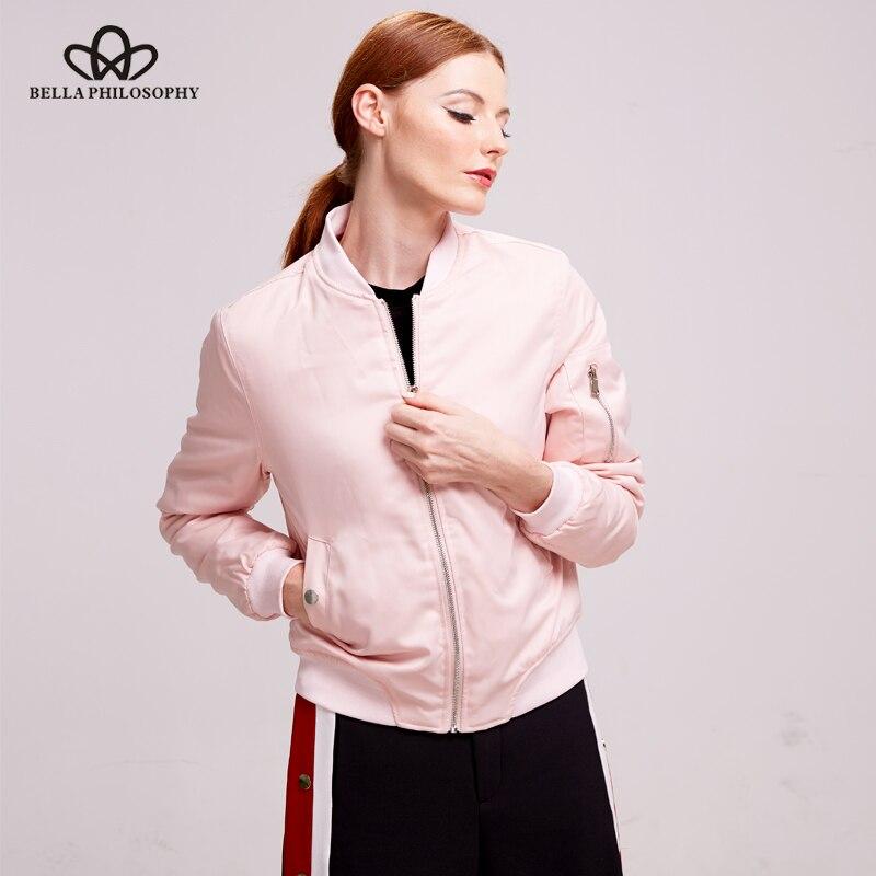 Bella Philosophy 2018 есен зима с цип подплатени дамски бомбени яке черно синьо розово сиво армируено Дамско облекло