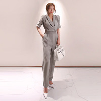 Female Puls Size OL Office Work Elegant Casual Loose Jumpsuit Trousers Women Casual Long Pants Overalls in Gray 2019 Summer