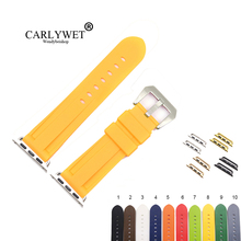 CARLYWET Fashion 38 40 42 44mm Yellow Brown Silicone Rubber Replacement Wrist Watchband Strap Loops For Iwatch Series 4/3/2/1