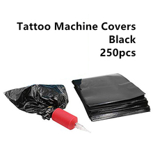 250pcs Tattoo Machine Bags Disposable Black Covers 130x140mm Plastic Cover Supply