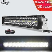 Barra de luz LED para conducción de coche, barra de luz Led de 3 filas 12D, 22, 32, 42, 50, 52 pulgadas, 12V, 24V, para todoterreno, 4x4, camiones Lada, SUV