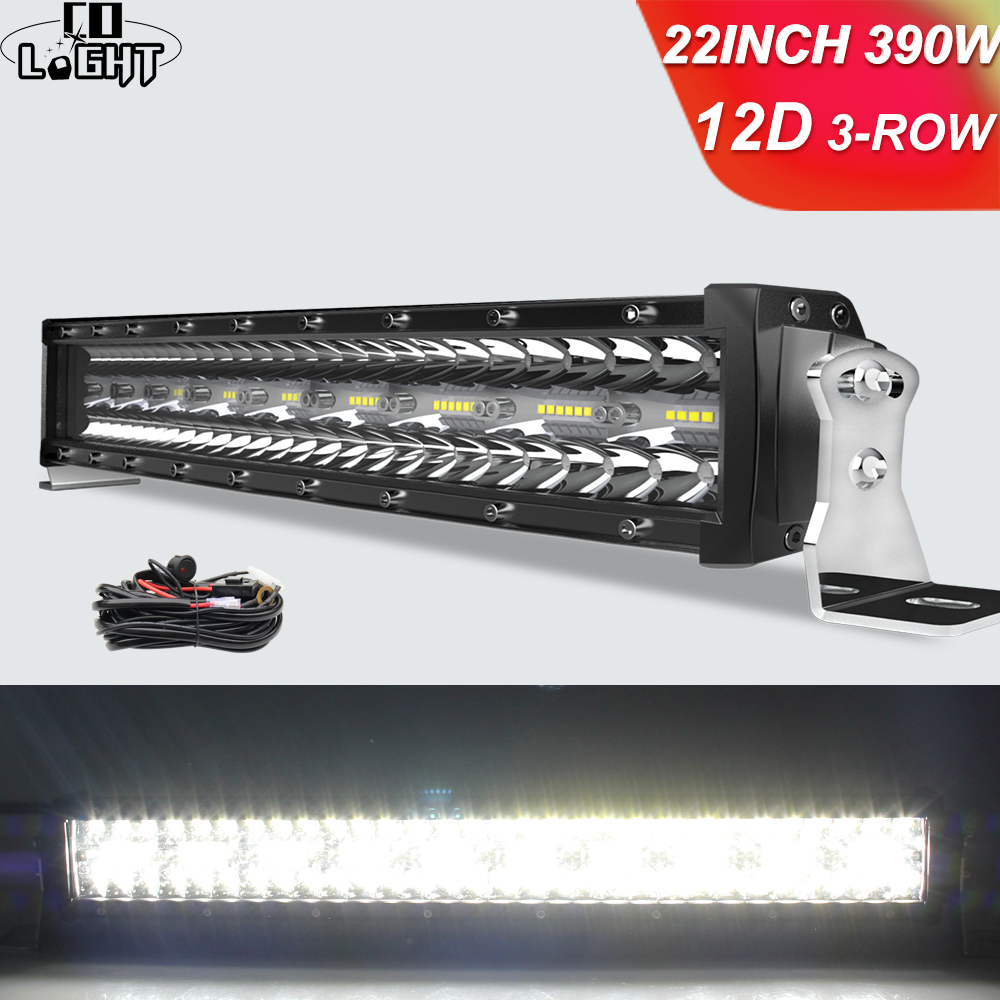 co light 12d 3 fileira 22 32 42 50 52 polegadas led barra 12v 24v spot