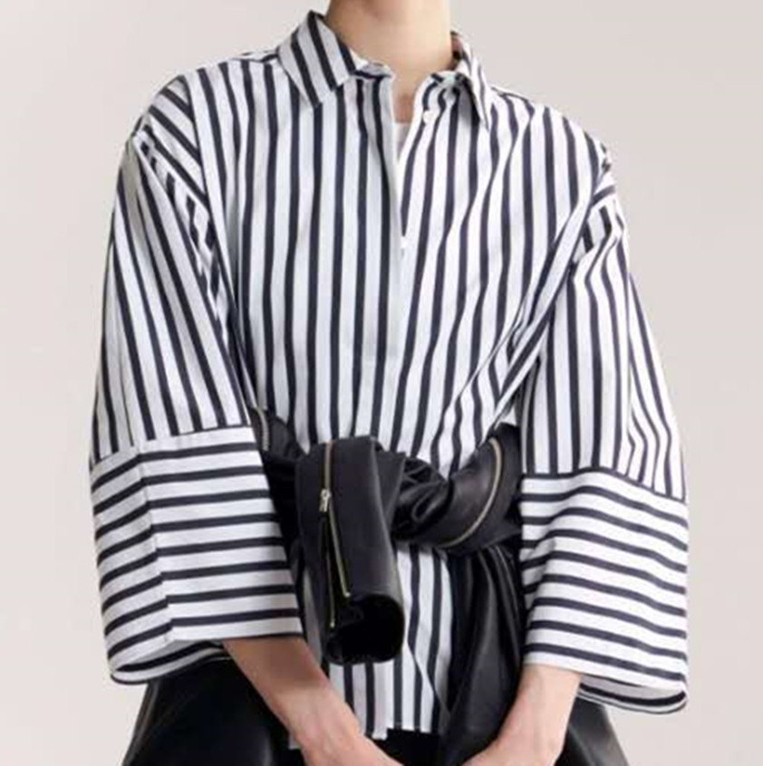 Bibione structured shape shirt stripe button up collar rounded wide sleeves cinched waist with pleating-in Blouses & Shirts from Women's Clothing    1