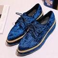 Новая мода Королевский синий бархат толстым дном туфли На Платформе водонепроницаемый платформы lace-up Женская Обувь повседневная Квартиры sapatos boty
