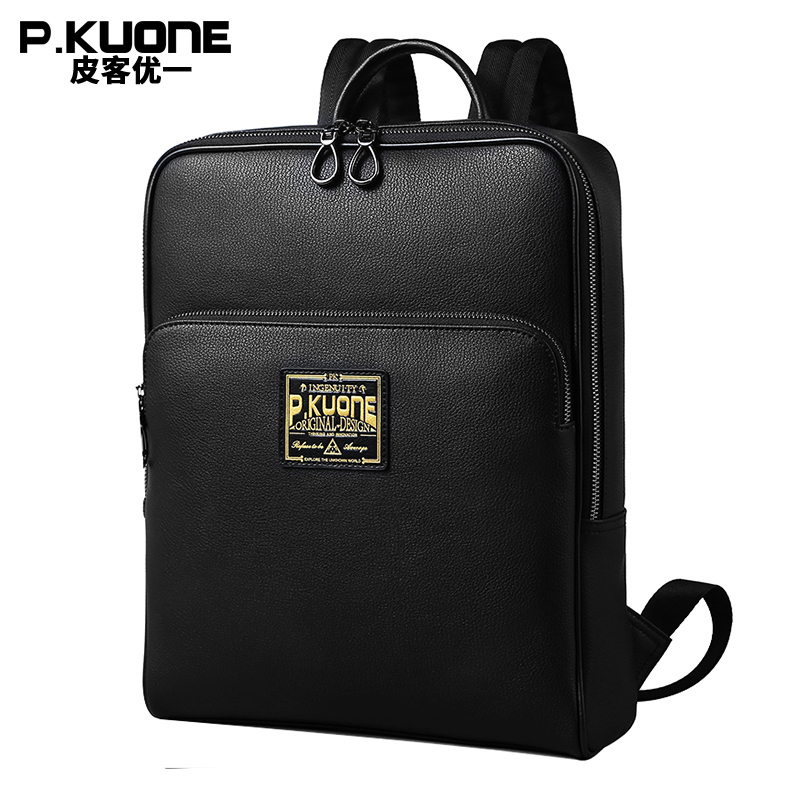 P.KUONE 14 Inch Laptop Bag Men Fashion High Quality Cowhide Leather Backpack Male Shoulder Bag Teenager Casual Daypacks mochila lowepro protactic 450 aw backpack rain professional slr for two cameras bag shoulder camera bag dslr 15 inch laptop