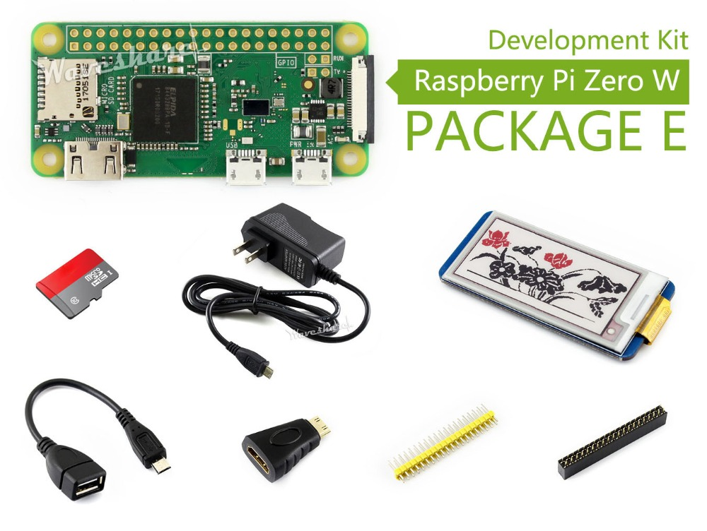Raspberry Pi Zero W Package E Development Kit includes 2.13inch e-Paper HAT Micro SD Card Power Adapter and Basic Components raspberry pi zero w package e basic development kit 16gb micro sd card power adapter 2 13inch e paper hat and basic components