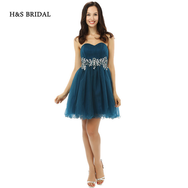 H&S BRIDAL Sweetheart Crystals Beaded Short Tulle Party Prom Gowns Black Girls 2017 Cocktail Dresses