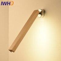 IWHD Madeira Modernas Luminárias de Parede Arandela Lâmpada de Parede LEVOU Ângulo Ajustável Iluminação Escadas Quarto Sala Wandlamp