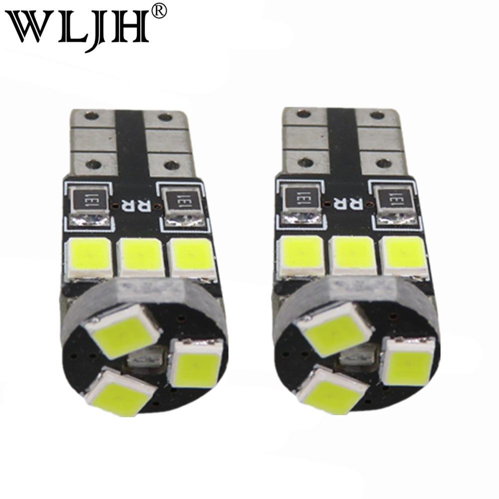 WLJH 10 Uds T10 blanco Canbus W5W LED Luz de coche sin errores 9SMD 2835 LED 501 advertencia bombilla de luz de costado Sidermarker aparcamiento iluminación