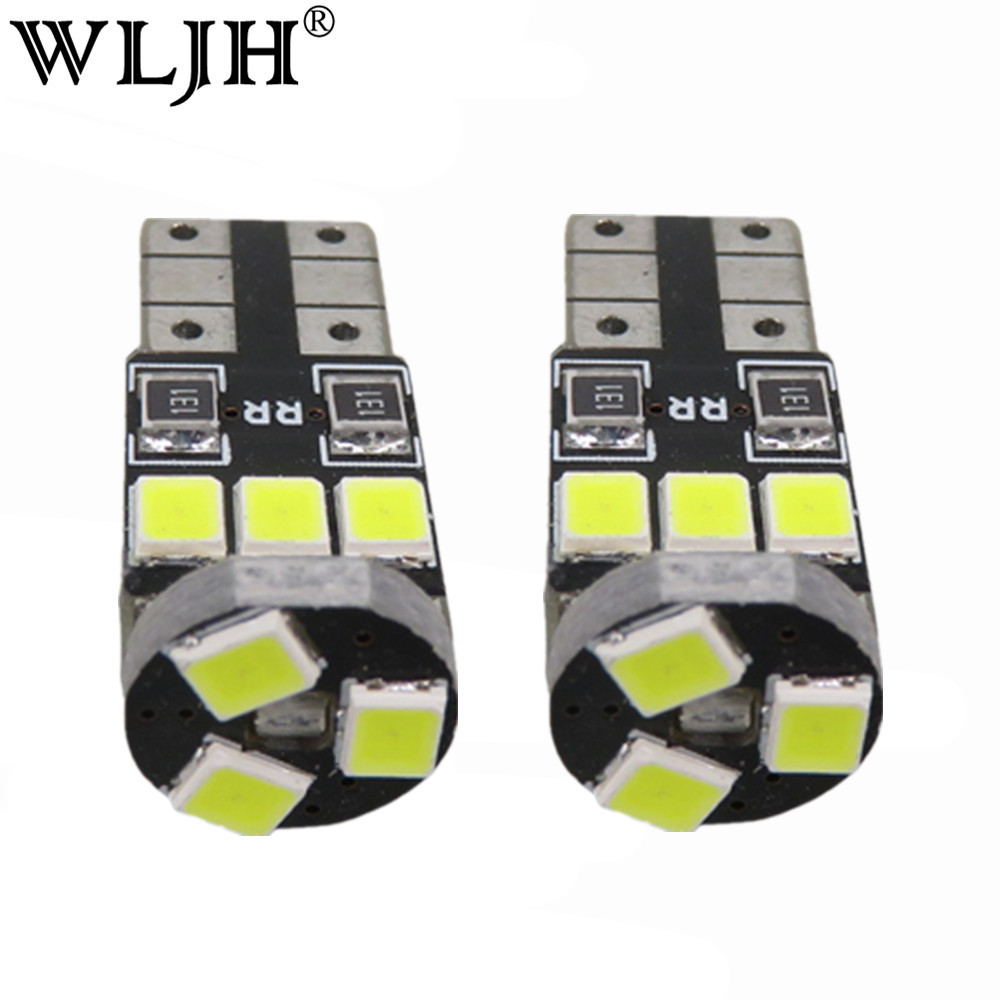 WLJH 10pcs T10  White Canbus W5W LED Car Light Error Free 9SMD 2835LED 501 Warning Side Light Bulbs Sidermarker Parking Lighting high quality 1x t10 9smd 5050 canbus 9 smd dc 12v error free 9led 194 168 192 w5w car led light interior bulbs wedge lamp white