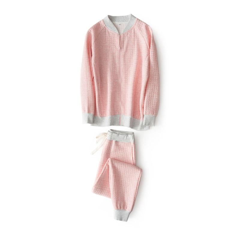 Warm Quilted 100% Cotton Women Pajama Sets Autumn Winter Long Sleeve Zip Sleepwear Ropa Pijama Mujer Invierno Pyjamas Home Wear