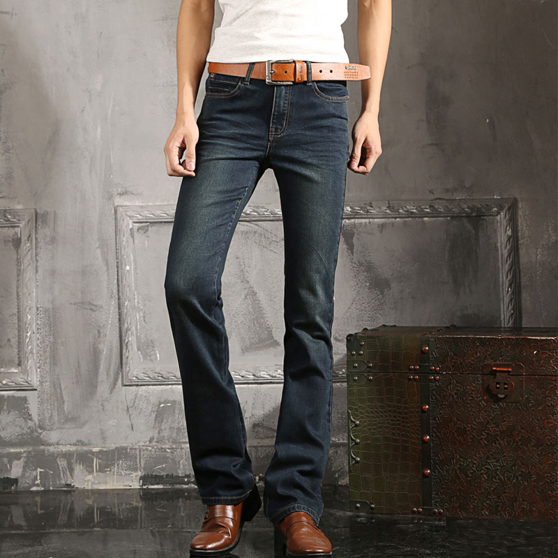 2016 Mens Blue Jeans Plus Size 27 to 38 Jean Flare Bell Bottom Flare Boot Cut leg Slight ...