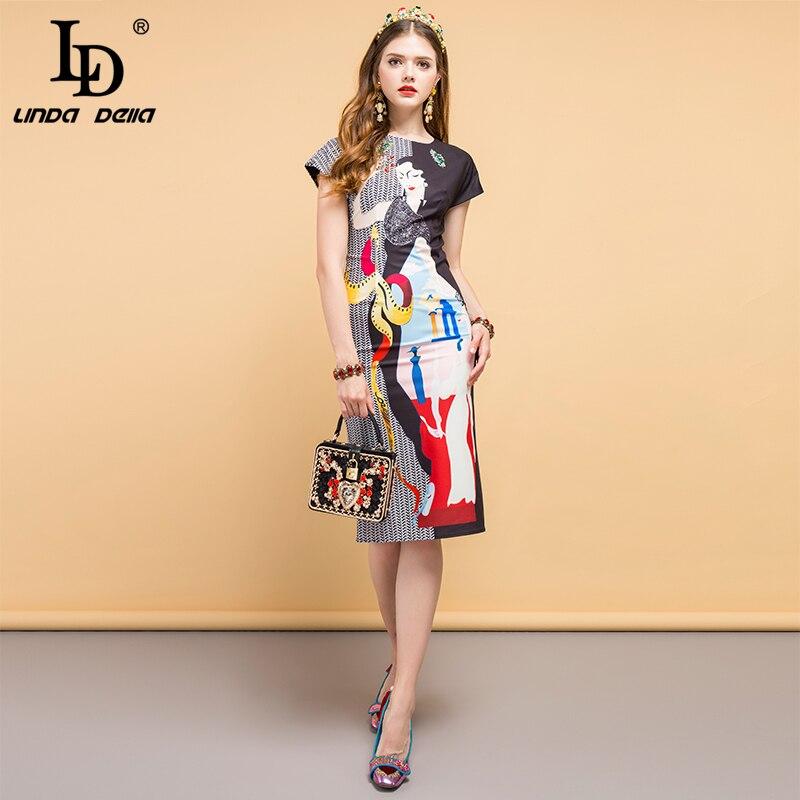LD LINDA DELLA Nieuwe 2019 Fashion Designer Zomer Jurk vrouwen Kralen Karakter Print slit Elegante Vintage Dames Slanke Jurken-in Jurken van Dames Kleding op  Groep 2