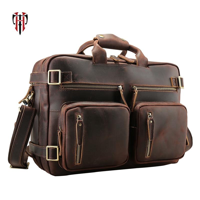 купить TIANHOO multifunction man bags Genuine leather traveling messenger shoulder bag & vintage style crazy horse leather bags по цене 13258.83 рублей