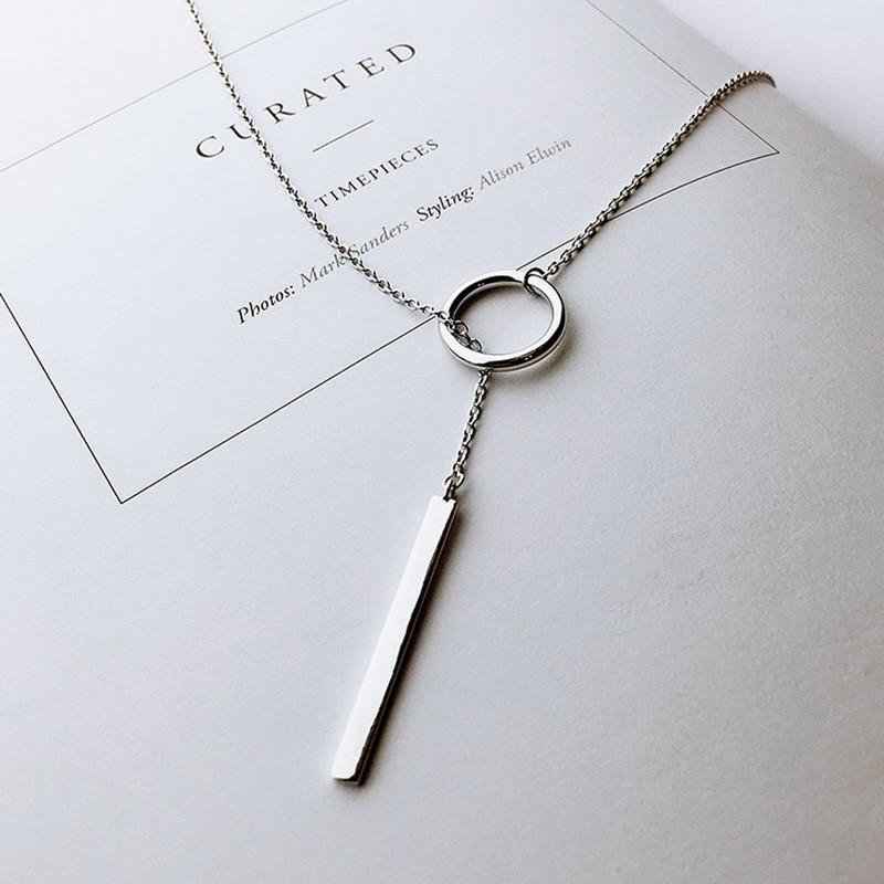 XIYANIKE-Vintage, bijoux en argent Sterling 925, pendentifs à chaîne longue, collier ras du cou, bande circulaire, VNS8002