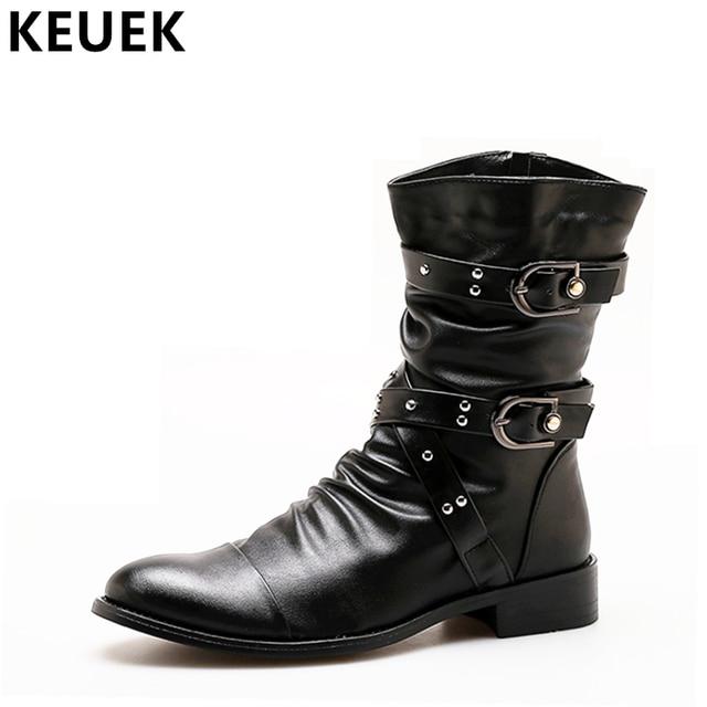 Moda Erkek botları Orta Buzağı Sivri Burun asker botu Sonbahar Erkek ayakkabı Motosiklet botları Su Geçirmez Takım botları 061
