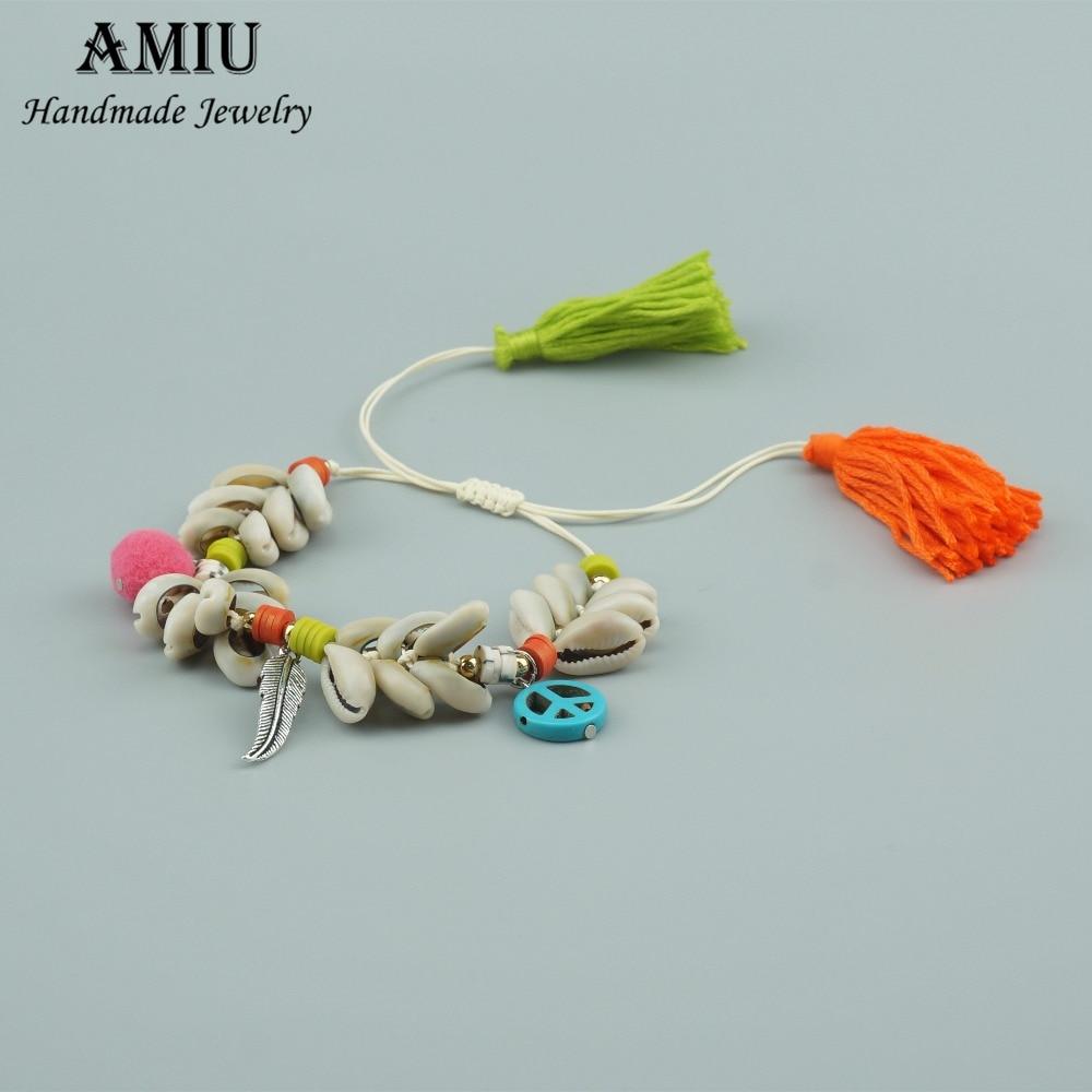 AMIU Handmade 2018 Shell Bracelet Rainbow Colorful Tassel Polymer Clay Hippie Bracelet Women Love Charm Gift Bohemian Bracelets