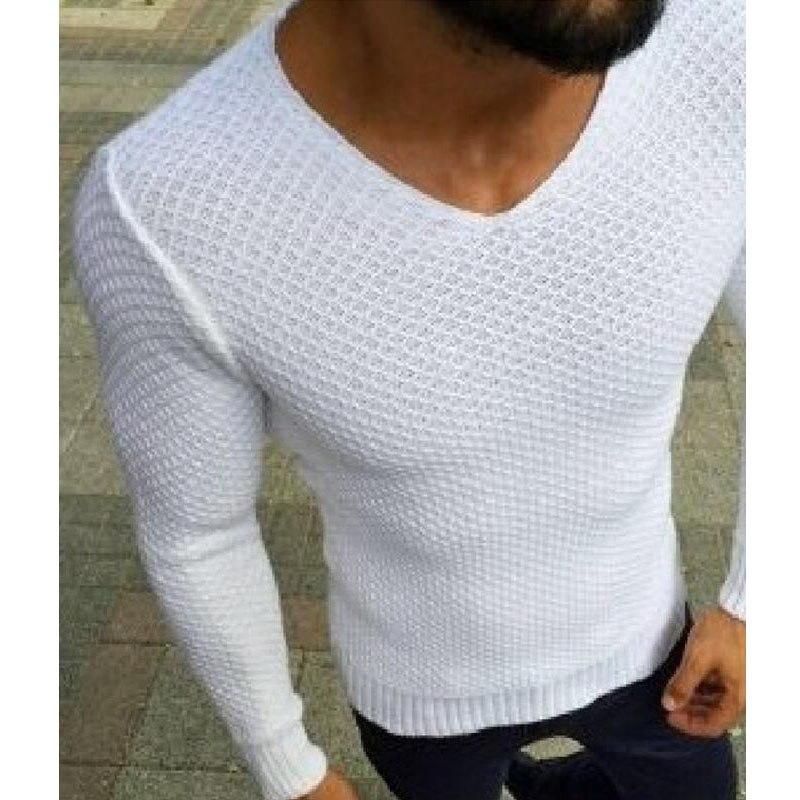 2018 Marca Roupa Nova do Natal Dos Homens Camisola Da Moda Outono Sólidos Slim Fit Pullovers V-pescoço dos homens Suéteres e Pulôveres Casuais