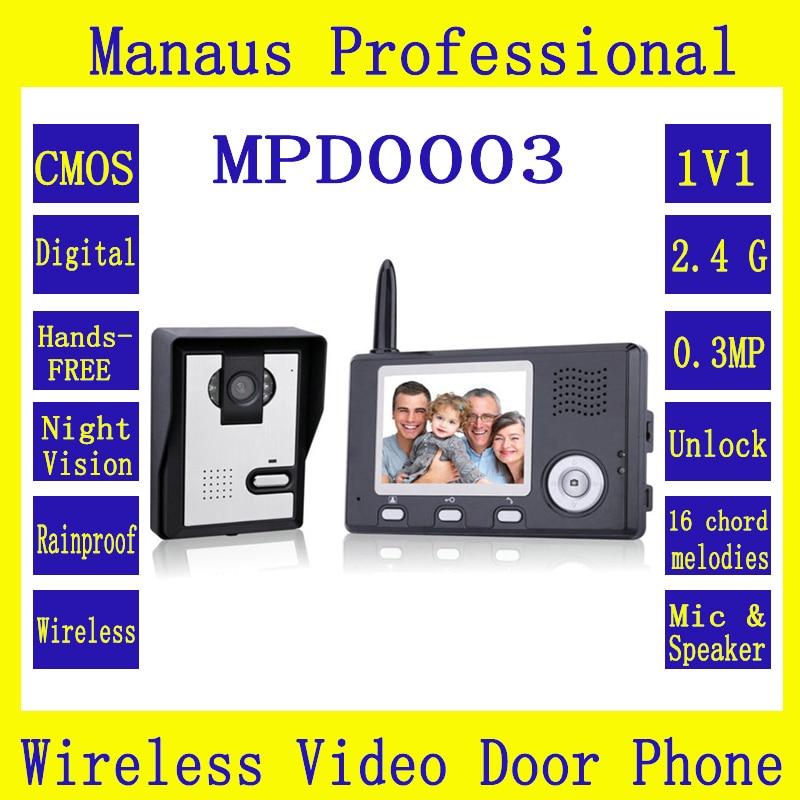 Wireless Intercom 3.5 Inch Video Door Phone Doorbell With Carmera Dual Audio Remote Unlocking Security Camera Night Vision D0003