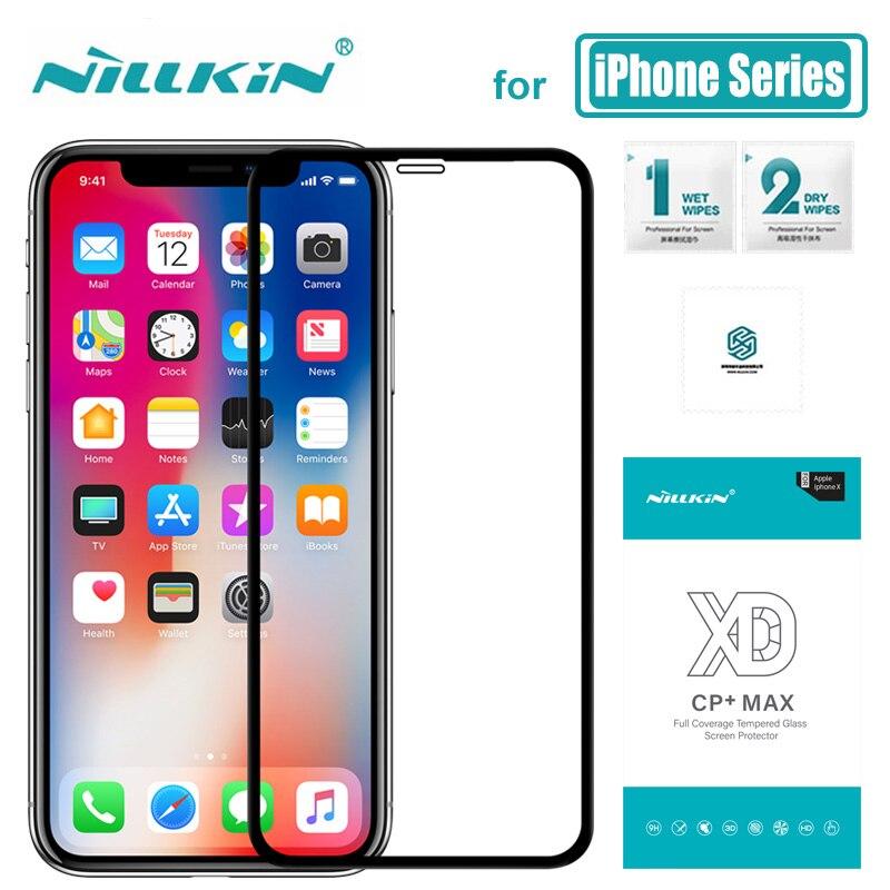 Für iPhone 11 Pro X 8 7 Plus XR XS Max Glas Nillkin XD CP + Max Volle Abdeckung 3D gehärtetem Glas Screen Protector für iPhone X Glas
