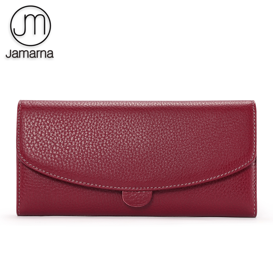 Jamarna Wallet Women Genuine Leather Wallet Female Long Clutch Classic Purse Women Wallets Card Holder Coin Purse Red Wallets brand 3 fold genuine leather women wallets coin pocket female clutch travel wallet portefeuille femme cuir red purse card holder