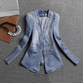 Women Denim Jackets 2017 Spring Autumn Casual Blue Slim V-neck Pearl Bead Female Jeans Coat Open Stitch AZ502