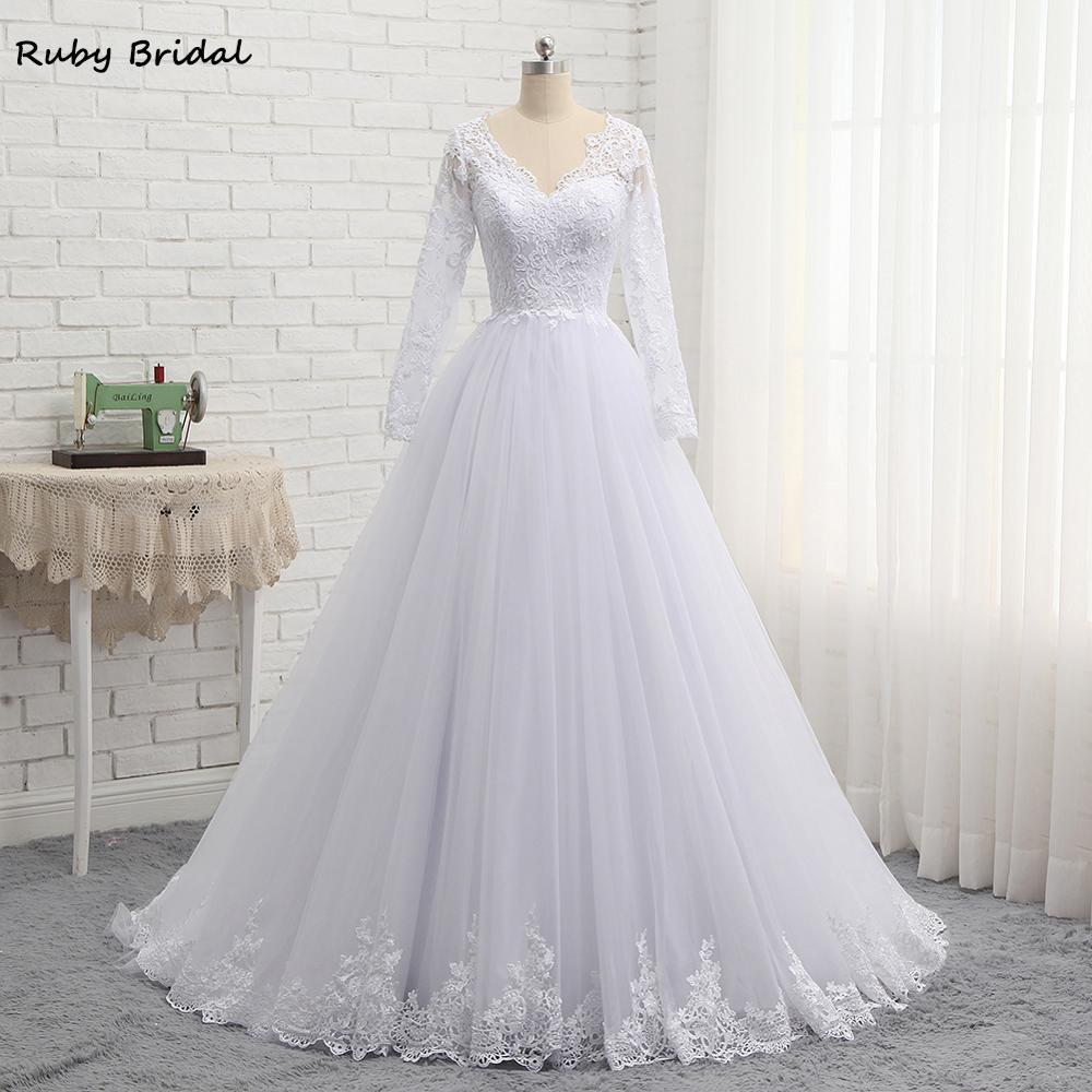 2019 New Arrival Long Vestidos De Noiva A-line White Tulle Appliques Wedding Dresses Long Sleeves Wedding Party Gown PW926