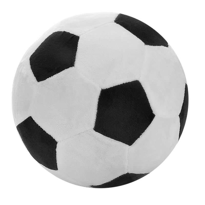 Soccer Sports Ball Throw Pillow Stuffed Soft Plush Toy For Toddler Baby Boys Kids Gift, 8 Inch L X 8 Inch W X 8 Inch H, Black