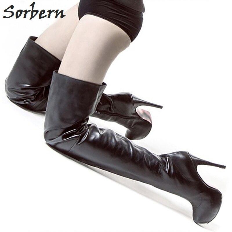 Sorbern пикантные Сапоги выше колена Сапоги и ботинки для девочек платформа на высоких каблуках на платформе ботинки черного цвета на шпильке