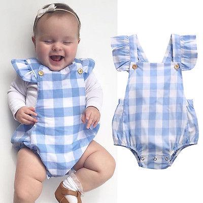 Bonito da criança azul xadrez macacão quente bebê menina verão sem costas bodysuit crianças sem mangas outfits