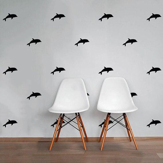 24dílné vodotěsné delfínové rybí nástěnné nálepky dům - Dekorace interiéru