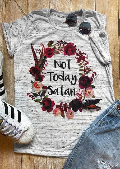 Cộng với Kích Thước Phụ Nữ T-Shirt Ngắn Tay Áo Không Ngày Hôm Nay Satan Floral T-Shirt 2018 Mùa Hè Thường Nữ t áo sơ mi Màu Xám Phụ Nữ Tops tee 3XL