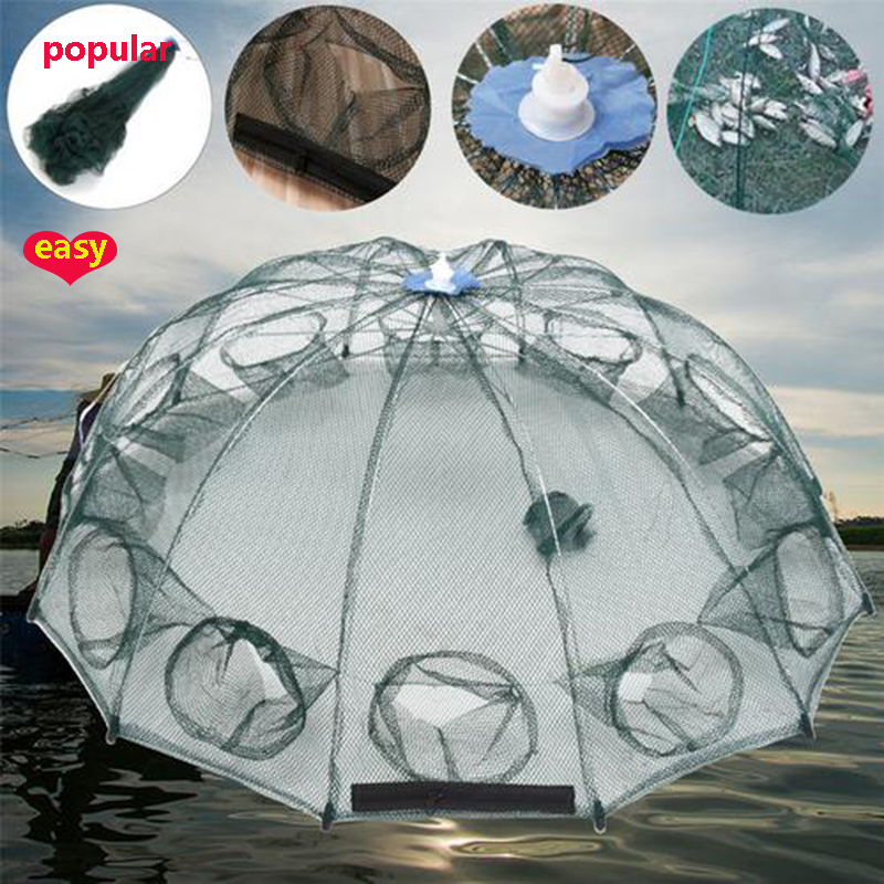 1x Foldable Automatic Fishing Crab Shrimp Net 4/6/8/12/16 Hole Trap Cast Dip Cage Bait Fish Minnow Crawfish