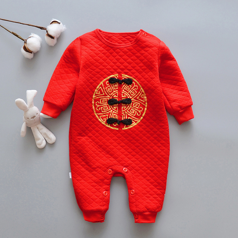 Happy new year Baby   Rompers   Warm Clothes High Quality Red Festoval Infant Clothing Fashion Kids Jumpsuits Baby Overalls