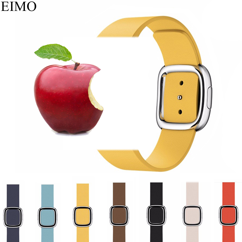 EIMO Modern Buckle Leather for Apple Watch Band 42mm 38mm Genuine Leather bracelet Watchband Strap iwatch 4/3/2/1 Accessories dysprosium metal 99 9% 5 grams 0 176 oz