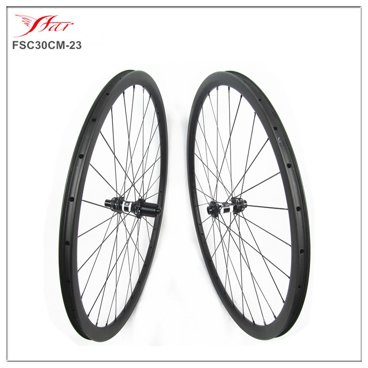 700C chinese carbon wheels cyclocross bike 30mm deep with DT 350s disc hubs, 28H/28H UD matt rim finishing , total 1484g/set