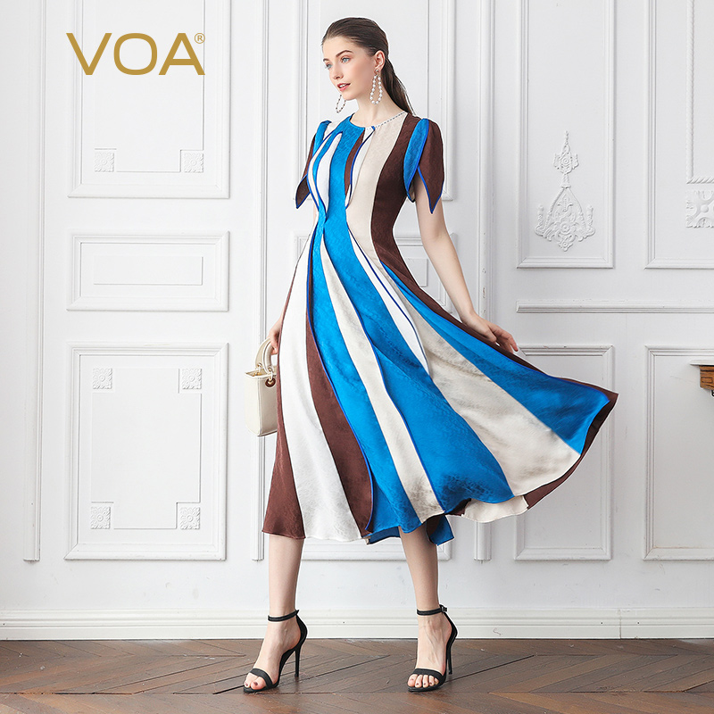 VOA Silk Jacquard Vertical Striped Long Dress A10013